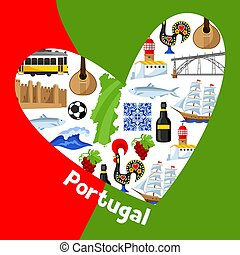 portugees, heart., traditionele , portugal, nationale symbolen, vorm, voorwerpen, ontwerp, achtergrond