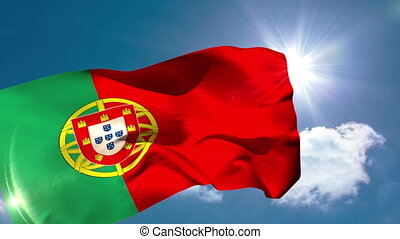 Portugese national flag blowing in