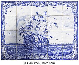 portugiesisch, fliesenmuster, uralt, schiff