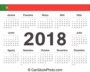 portugisisk, cirkel, vektor, kalender, 2018