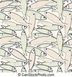 portugisisk, färgad, patterns., fish, pattern., seamless, illustration, traditionell, vektor, sardinen, icon., geometrisk