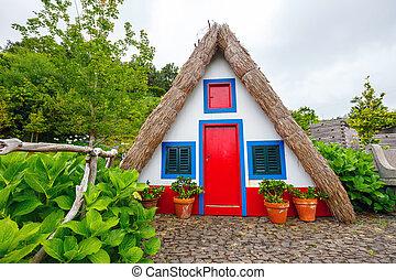 portugisisk, santana, ö, traditionell, madeira, hus
