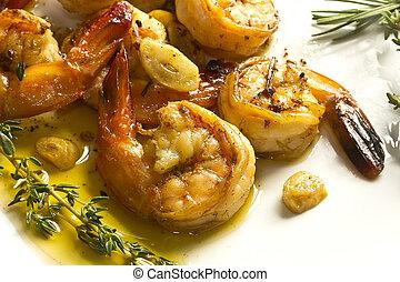 portugués, ajo, camarón