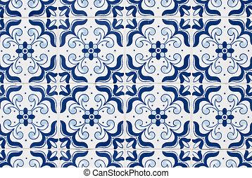 portugués, azulejos, 161, barnizado