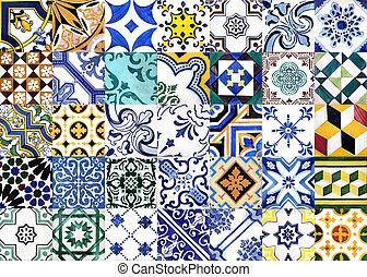 portugués, azulejos, barnizado