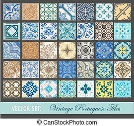 portugués, azulejos, vendimia, -, seamless, colección,...