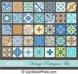 portugués, azulejos, vendimia, -, seamless, colección, vector, plano de fondo