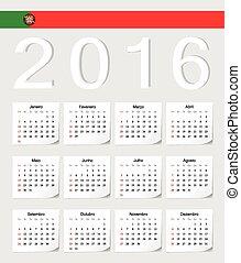 portugués, calendario, 2016