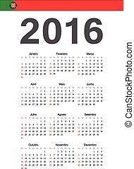 portugués, calendario, vector, 2016, año