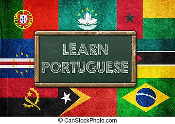 portugués, concepto, vendimia, -, plano de fondo, aprender