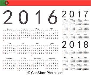 portugués, conjunto, calendarios, 2017, vector, 2016, 2018, año