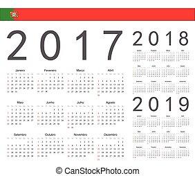 portugués, conjunto, calendarios, 2017, vector, 2019, año, 2018