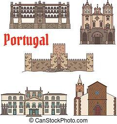 portugués, conjunto, viaje, arquitectura, vista, icono