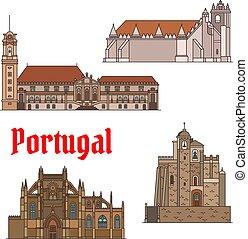 portugués, conjunto, viaje, línea fina, señales, icono