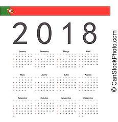portugués, cuadrado, vector, 2018, año, calendario