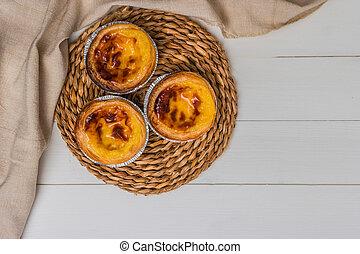 portugués, de, pasteis, nata, lisboa, tarta, huevo, típico, pasteles