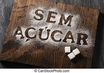 portugués, escrito, azúcar, libre, texto