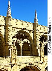 portugués, hieronymites, monasterio, detalle, lisboa,...