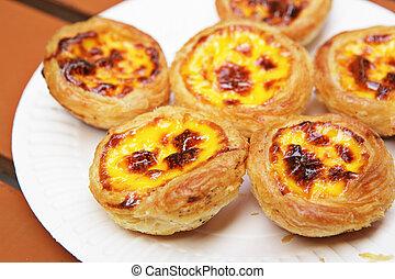 portugués, huevo, tarta