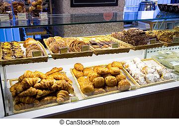 portugués, panadería, mostrador