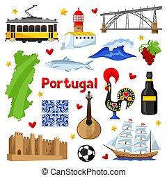 portugués, portugal, iconos, set., tradicional, objetos, símbolos, nacional