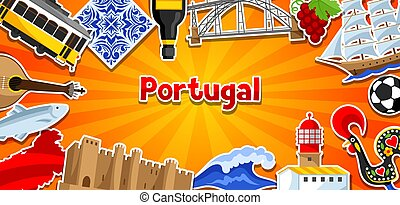 portugués, portugal, nacional, tradicional, objetos, símbolos, stickers., bandera