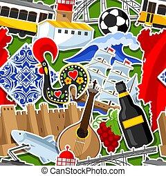 portugués, portugal, patrón, nacional, seamless, tradicional, objetos, símbolos, stickers.