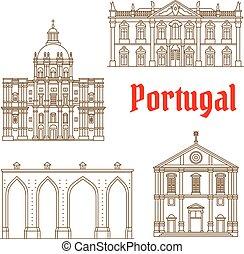 portugués, señales, iconos, viaje, lisboa
