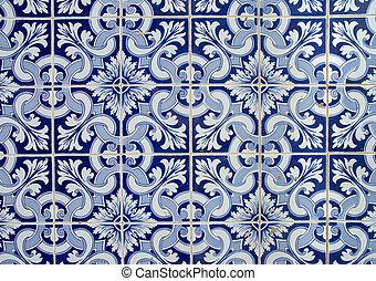 portugués, viejo, azulejos, embaldosado, plano de fondo