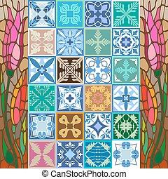 português, cerâmico, espanhol, motifs., marroquino, glazed,...