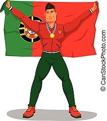 português, flag., isolado, championship., jogadores, vetorial, comemorar, levantamento