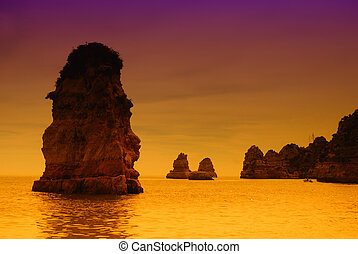 coast - portuguese Algarve coast, the south of the country