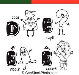 Portuguese alphabet. Candy, question mark, popsicle, karate....