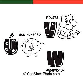 Portuguese alphabet. Hungarian bun, violet. The letters and...