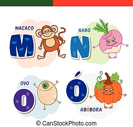 Portuguese alphabet. Monkey, turnips, eggs, pumpkin. The letters and characters.