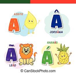 Portuguese alphabet. Olive oil, lion, pineapple. The letters...