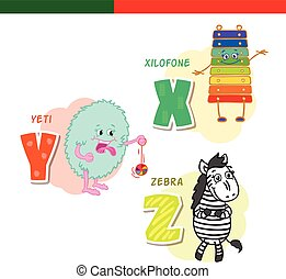 Portuguese alphabet. Xylophone, Yeti, zebra. The letters and...