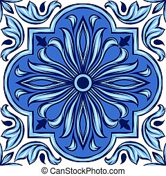 Portuguese azulejo ceramic tile. Ethnic folk ornament....