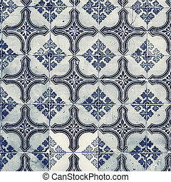 Portuguese azulejo tiles. Blue and white Abstract colorful wall background - Lisbon, Portugal December 26, 2016