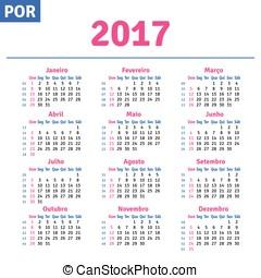 Portuguese (Brazilian) calendar 2017, horizontal calendar...