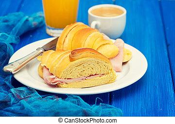 portuguese breakfast on wooden background