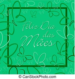 Portuguese Butterfly border Mother's Day card in format.