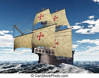 Portuguese caravel - Computer generated 3D illustration with...