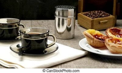 Portuguese Custard Tarts with Coffe - Pasteis de Nata or...