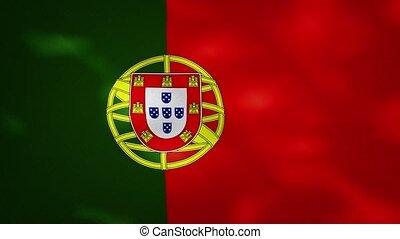 Portuguese dense flag fabric wavers, background loop - ...