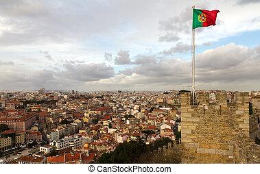 Portuguese flag on the castle