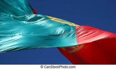 Portuguese Flag against blue sky