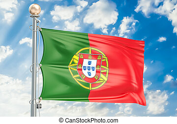 Portuguese flag waving in blue cloudy sky, 3D rendering