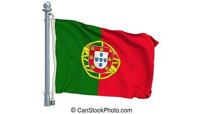 Portuguese flag waving on white background, animation. 3D...
