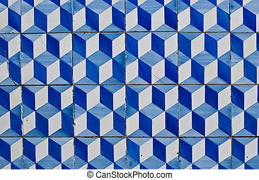 Portuguese glazed tiles 180 - Detail of Portuguese glazed...